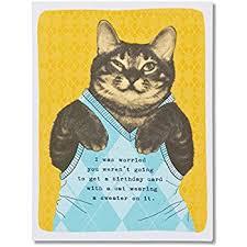 amazon com american greetings funny sweater cat birthday card