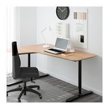 Corner Oak Desk Bekant Corner Desk Left Oak Veneer Black 160x110 Cm Ikea