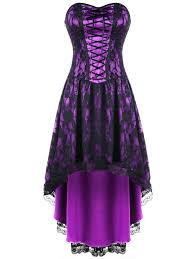 vintage dresses black and purple 2xl strapless lace up high low