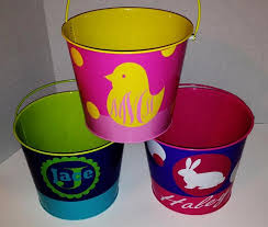 personalized easter buckets easter basket galvanized easter basket by amazeingsigns on zibbet