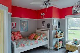 Two Tone Walls With Chair Rail Painting Chair Rail Kids Transitional With Dollhouses Themed Wall