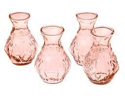 Small Glass Vase Vintage Pink Bernadette Mini Glass Vase Set Of 4 Luna Bazaar
