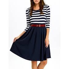 casual dress a line stripe casual dress fall in purplish blue l twinkledeals