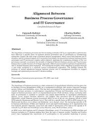 alignment between business process governance and it governance