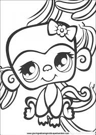 littlest pet shop girly monkey cute coloring pages free to print