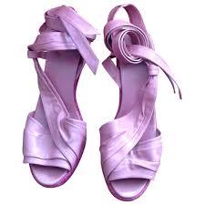 pink leather hermès sandals vestiaire collective
