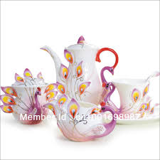 online shop chinese ceramic enamel porcelain peacock coffee mug