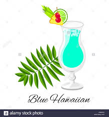 cocktail cartoon blue hawaiian cocktail cartoon style summer long drink isolated
