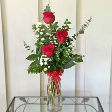 Small Vase Flower Arrangements Three Red Roses In Bud Vase In Kirkwood Mo Kirkwood Florist