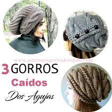 modelos modernos para gorras tejidas con 3 gorros caídos a dos agujas slouchy paso a paso crochet y dos
