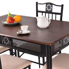 Metal And Wood Furniture Costway 5 Piece Dining Set Wood Metal Table And 4 Chairs Kitchen