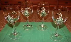 set of 4 spode tree wine glasses w gold trim ebay