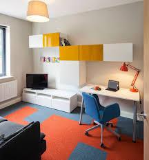 bedroom furniture white study table orange combined carpet inside