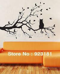 ome decor wall sticker birds and cat on tree branches wall art