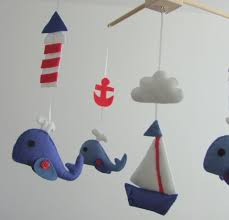 nautical design baby baby crib mobile navy red boats whale anchor fish nautical design