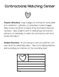 contractions matching center and recording sheet by 4 little baers