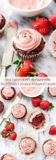red velvet beet cupcakes with strawberry coconut whipped cream