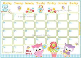 printable calendar 2016 etsy may 2017 calendar cute