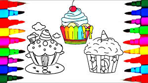 learn rainbow colors l how to draw cup cakes coloring pages l art