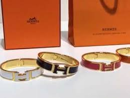 hermes bracelet white images Hermes white enamel clic h narrow bracelet in rose gold jpg