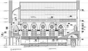 emmanuel baptist church li saltzman a longitudinal section elevation indicates the scope of interior work in the sanctuary