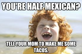 Funny Racist Mexican Memes - you re half mexican tell your mom to make me some tacos racist