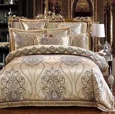 Royal Bedding Sets 4 6pcs Luxury Royal Bedding Set Stain Jacquard Cotton Lace