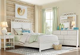 Beach Cottage White  Pc Queen Panel Bedroom Bedroom Sets Colors - Beach cottage bedrooms