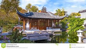 Chinese Home Chinese Garden Temple House Panorama Royalty Free Stock Images