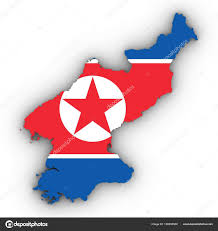 Korea Flag Image North Korea Map Outline With North Korean Flag On White With Sha