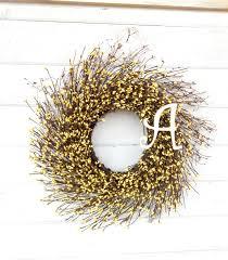 spring wreath monogram wreath personalized gift yellow twig wreath