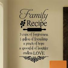 family recipe kitchen decal vinyl wall lettering wall quotes family recipe kitchen decal vinyl wall lettering wall quotes