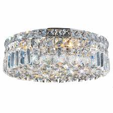 Crystal Flush Mount Ceiling Light Fixture by Collection 5 Light Chrome Finish And Clear Crystal Flush Mount