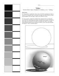 value scale and sphere worksheet 7th grade art blending value
