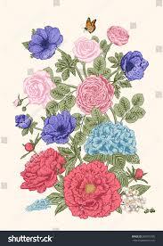 bouquet flowers wedding card vector illustration stock vector