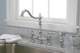 premier kitchen faucet lead free two handle bridge kitchen faucet with matching spray