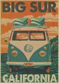 vintage classic volkswagen car vw type mini bus poster bar cafe