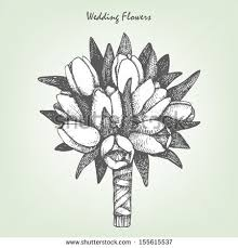 wedding flowers drawing vector illustration wedding bunch stock vector