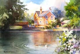 painting water reflections cottage in roland