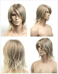 short blonde straight hair wig for men party cosplay