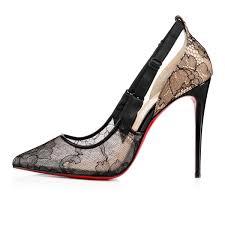 jeanbi 100 version black lace women shoes christian louboutin