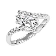 two engagement ring twogether two 73 ctw bypass white gold anniversary ring