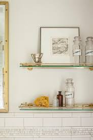 Glass Shelves For Bathroom Wall Glass And Brass Vintage Glass Shelves Above Toilet Transitional