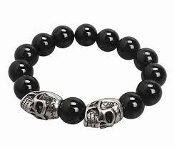 black bracelet men images Black onyx stone bead bracelet men with solid oxidized titanium jpg