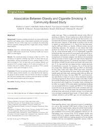 cause and effect essay sample pdf 100 obesity research papers sample bibliography work cited between obesity and cigarette smoking a community association between obesity and cigarette smoking a community based study pdf download available