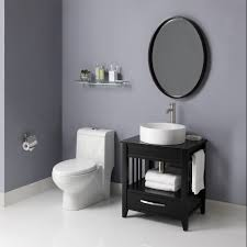 Black Powder Rooms Clean Powder Room With Bright Toilet Under Glass Shelving