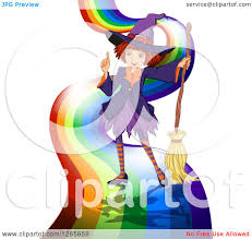 clipart of a halloween witch with a broom on a rainbow road