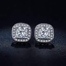 big diamond earrings classic design sliver color princess cut big square cz cubic