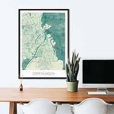 Copenhagen Desk Copenhagen Gift Map Art Prints And Posters Home Decor Gifts