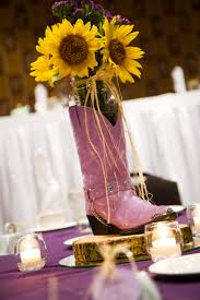 purple cowboy boots worked for centerpieces too wedding ideas